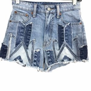 Lucky Brand  Patchwork Lucky Pins Shorts Hi Rise